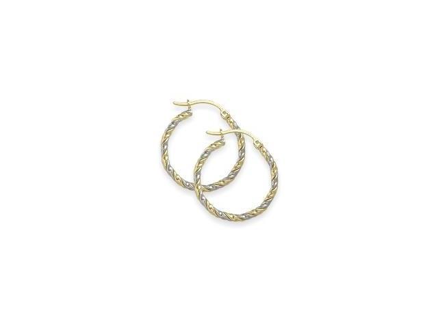 Two-Toned 1 Inch Gold Hoop Earrings
