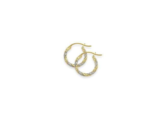 Two-Toned 3/5 Inch Gold Hoop Earrings