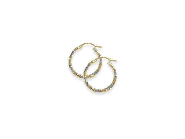 High Polish Two-Toned 1 Inch Gold Hoop Earrings