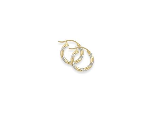 Two-Toned 3/5 Inch Intertwining Gold Hoop Earrings