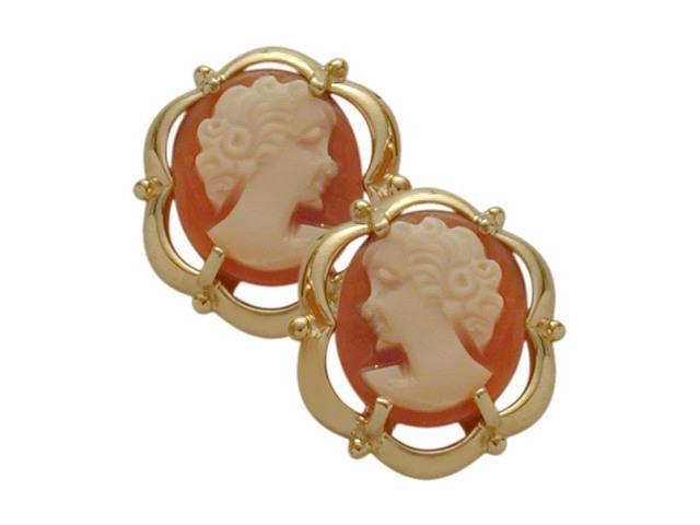 14 Karat Yellow Gold Cornelian Shell Cameo Earrings