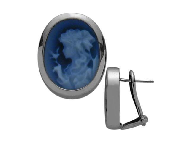 14 Karat White Gold Blue Agate Cameo Earrings