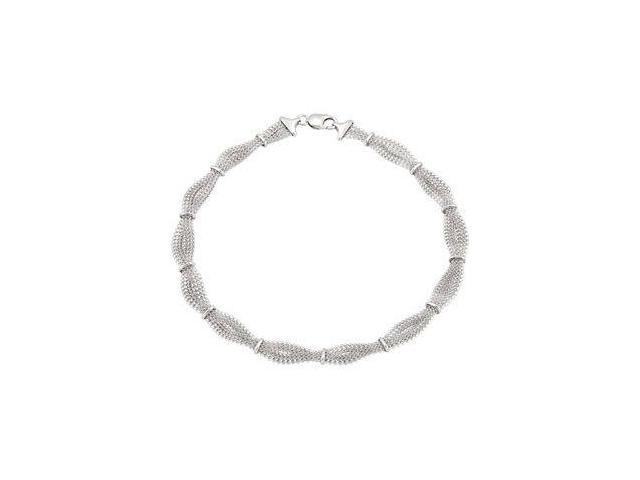 17 Inch Braided Mesh Genuine Sterling Silver Necklace