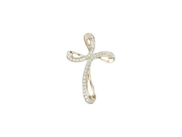 0.19tcw 14 Karat Yellow Gold Diamond Cross with a chain