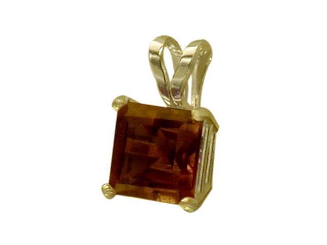 14 Karat Yellow Gold 0.75tcw. 5mm Genuine Princess Cut Square Garnet Pendant
