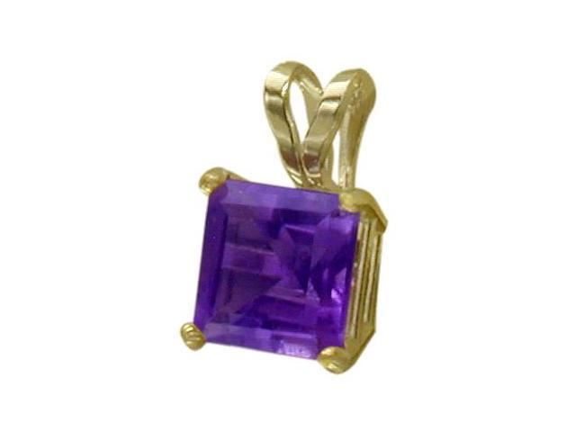 14 Karat Yellow Gold 0.60tcw. 5mm Genuine Princess Cut Square Amethyst Pendant