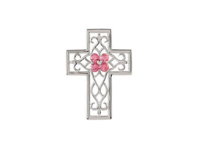 Genuine Sterling Silver Pink Tourmaline Cross Pendant with a chain