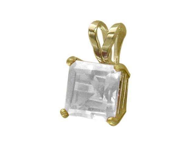 14 Karat Yellow Gold 0.65tcw. 5mm Genuine Princess Cut Square White Topaz Pendant