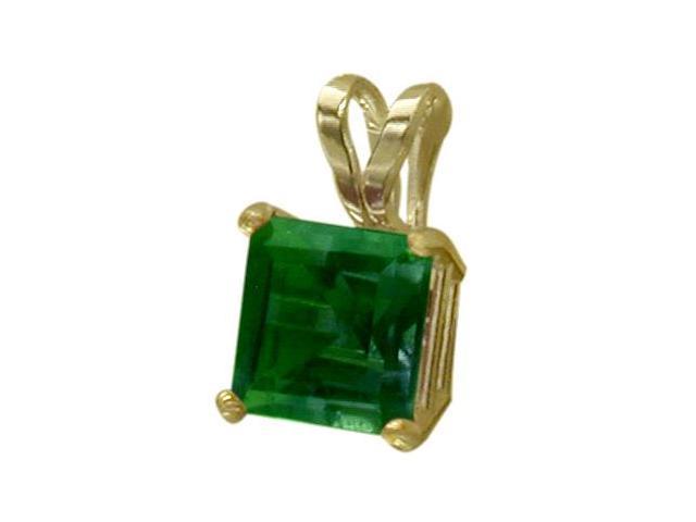14 Karat Yellow Gold 0.55tcw. 5mm Princess Cut Square Created Emerald Pendant