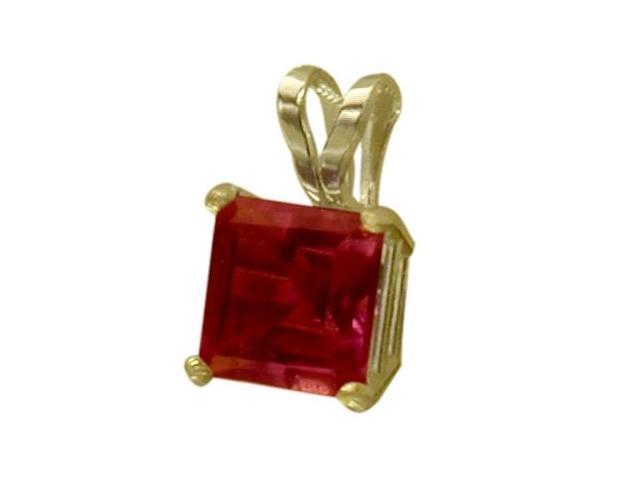 14 Karat Yellow Gold 0.80tcw. 5mm Princess Cut Square Created Ruby Pendant