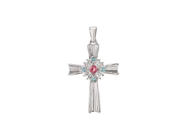 Genuine Sterling Silver Pink Tourmaline & Swiss Blue Topaz Cross with a chain