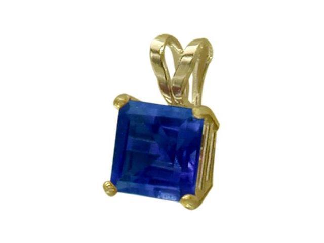 14 Karat Yellow Gold 0.60tcw. 5mm Princess Cut Square Created Sapphire Pendant