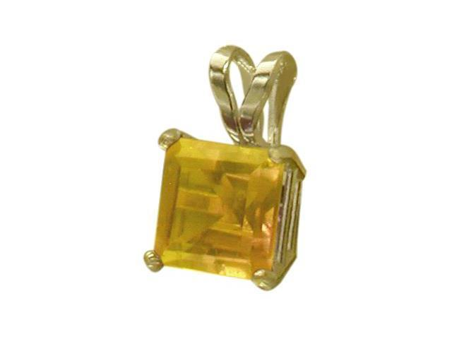 14 Karat Yellow Gold 0.60tcw. 5mm Genuine Princess Cut Square Citrine Pendant
