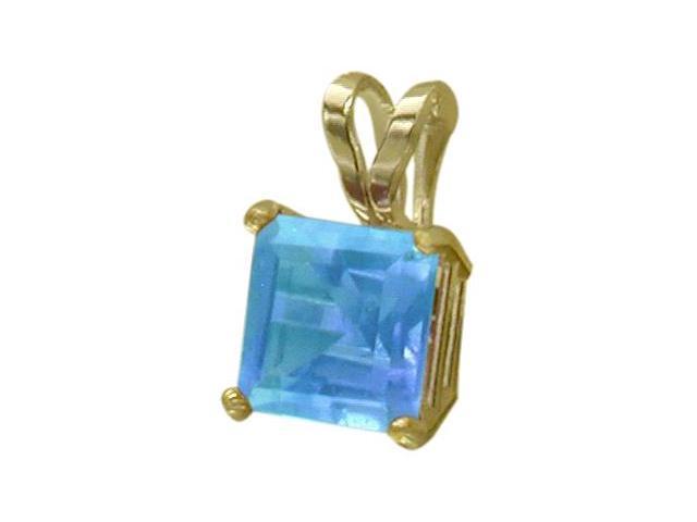 14 Karat Yellow Gold 0.75tcw. 5mm Genuine Princess Cut Square Blue Topaz Pendant