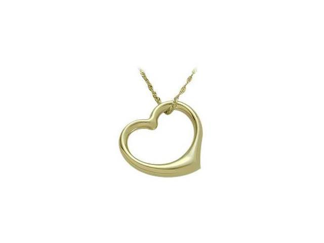 10K Yellow Gold Thick Floating Heart Pendant with chain