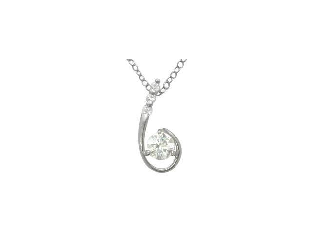 Sterling Silver Cubic Zirconia Floating Pendant with a chain.