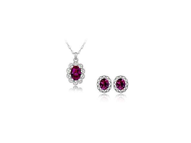SWAROVSKI® Elements Stainless Steel Oval Pendant & Earrings Set with a chain