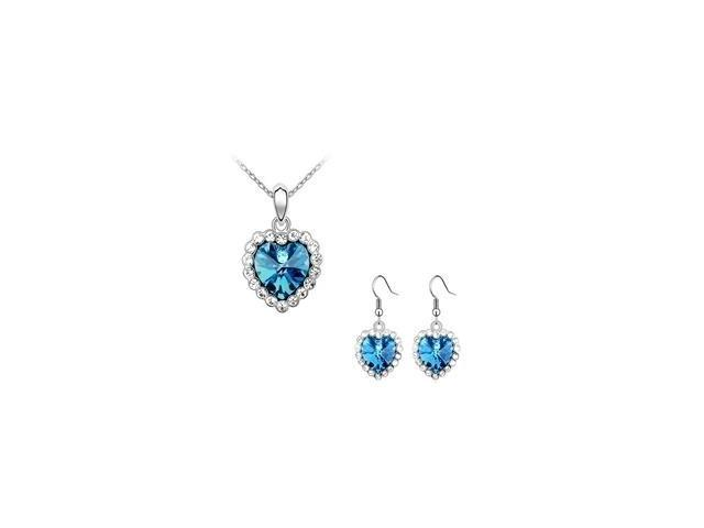 SWAROVSKI® Elements Heart Pendant & Earrings Set with a chain