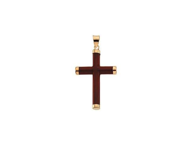 Red Jade and 14 Karat Yellow Gold Cross Pendant with a chain