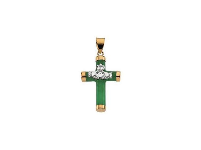 14 Karat Yellow Gold Jade Claddagh Cross Pendant with a chain