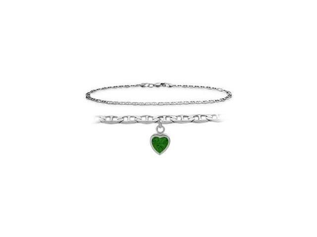 14K White Gold 10 Inch Mariner Anklet with Created Emerald Heart Charm