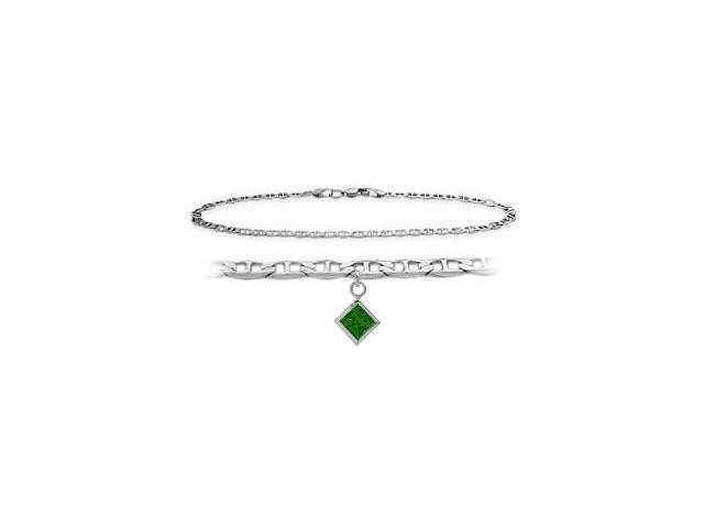 10K White Gold 9 Inch Mariner Anklet with Created Emerald Square Charm
