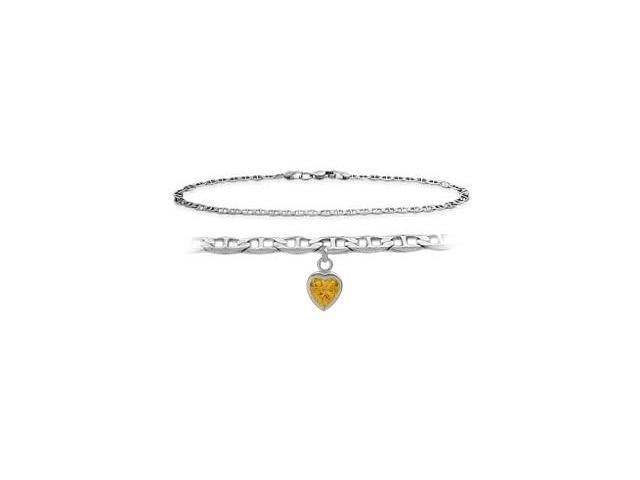 14K White Gold 9 Inch Mariner Anklet with Genuine Citrine Heart Charm