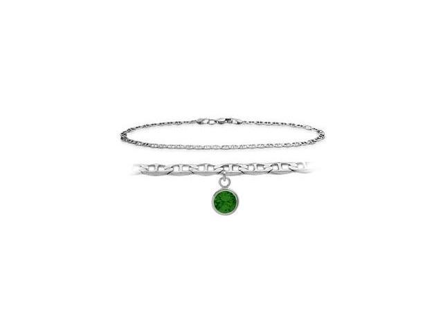 14K White Gold 10 Inch Mariner Anklet with Created Emerald Round Charm