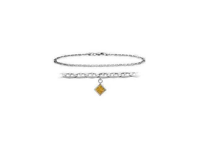 Genuine Sterling Silver 10 Inch Mariner Anklet with Genuine Citrine Square Charm