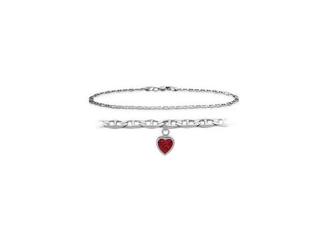 10K White Gold 10 Inch Mariner Anklet with Created Ruby Heart Charm