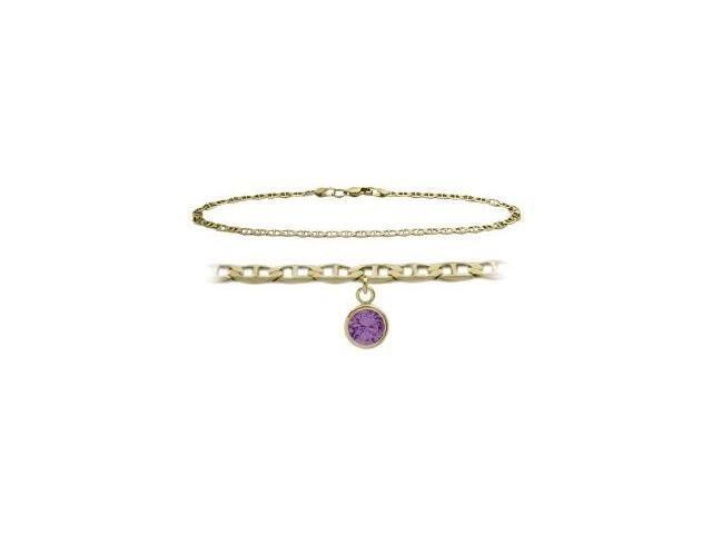 14K Yellow Gold 10 Inch Mariner Anklet with Genuine Amethyst Round Charm
