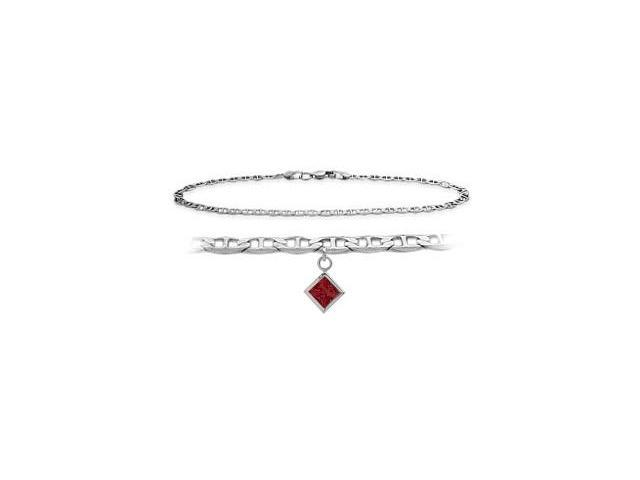10K White Gold 9 Inch Mariner Anklet with Created Ruby Square Charm