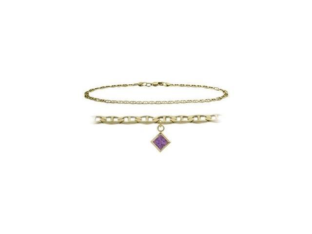 10K Yellow Gold 10 Inch Mariner Anklet with Genuine Amethyst Square Charm