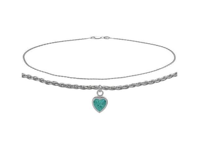 10K White Gold 10 Inch Wheat Anklet with Genuine Blue Topaz Heart Charm