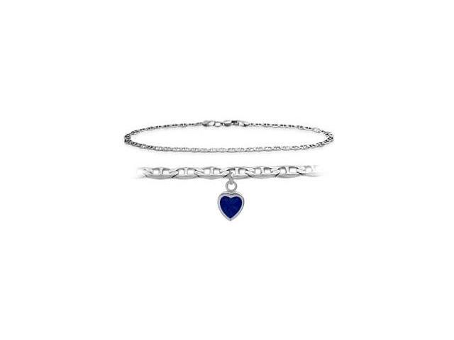 10K White Gold 9 Inch Mariner Anklet with Created Sapphire Heart Charm