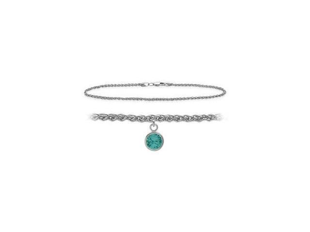 14K White Gold 10 Inch Wheat Anklet with Genuine Blue Topaz Round Charm