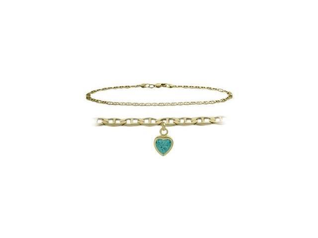 14K Yellow Gold 10 Inch Mariner Anklet with Genuine Blue Topaz Heart Charm