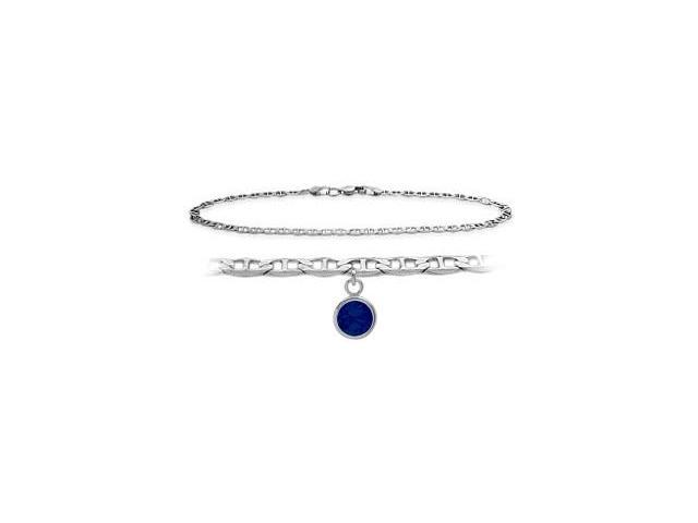 Genuine Sterling Silver 10 Inch Mariner Anklet with Created Sapphire Round Charm