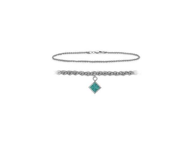 14K White Gold 9 Inch Wheat Anklet with Genuine Blue Topaz Square Charm