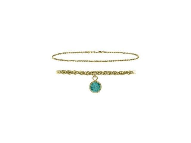 14K Yellow Gold 9 Inch Wheat Anklet with Genuine Blue Topaz Round Charm