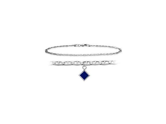 14K White Gold 9 Inch Mariner Anklet with Created Sapphire Square Charm