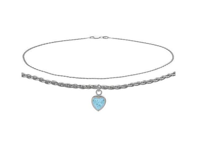 14K White Gold 9 Inch Wheat Anklet with Created Aquamarine Heart Charm
