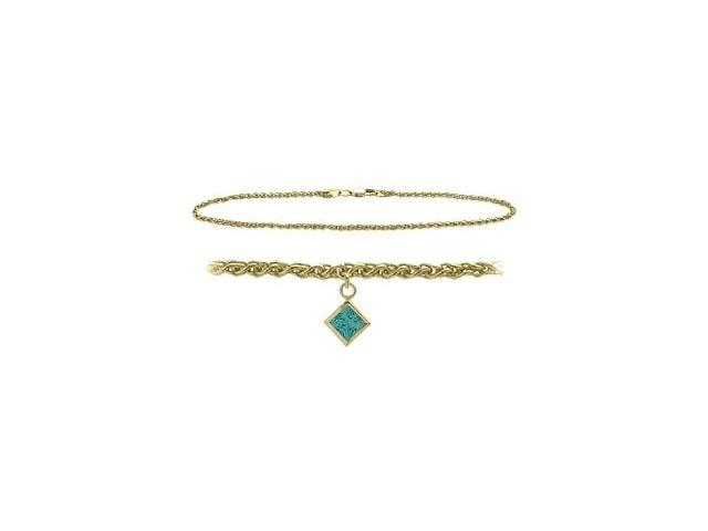 10K Yellow Gold 9 Inch Wheat Anklet with Genuine Blue Topaz Square Charm
