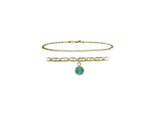 14K Yellow Gold 10 Inch Mariner Anklet with Genuine Blue Topaz Round Charm