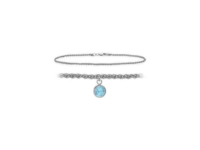 14K White Gold 9 Inch Wheat Anklet with Created Aquamarine Round Charm