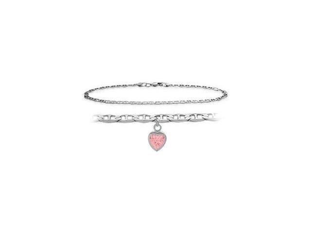 Genuine Sterling Silver 10 Inch Mariner Anklet with Created Tourmaline Heart Charm