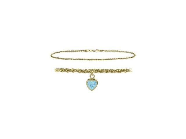 14K Yellow Gold 9 Inch Wheat Anklet with Created Aquamarine Heart Charm