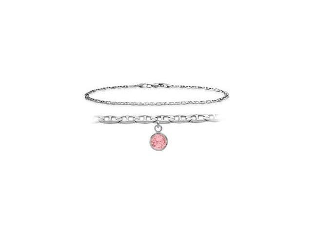 14K White Gold 9 Inch Mariner Anklet with Created Tourmaline Round Charm