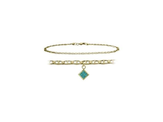 10K Yellow Gold 10 Inch Mariner Anklet with Genuine Blue Topaz Square Charm