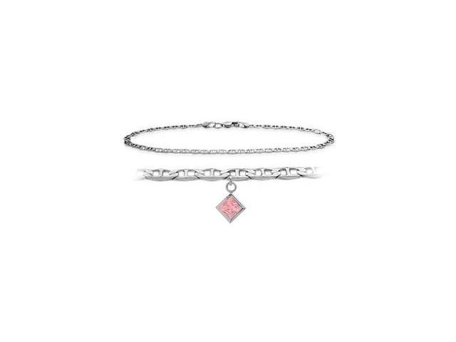 14K White Gold 9 Inch Mariner Anklet with Created Tourmaline Square Charm